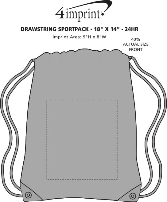 "Imprint Area of Drawstring Sportpack - 18"" x 14"" - 24 hr"
