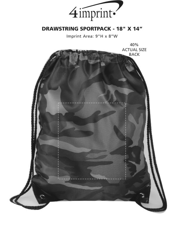 "Imprint Area of Drawstring Sportpack - 18"" x 14"" - Camo"