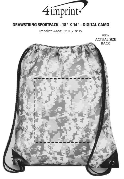 "Imprint Area of Drawstring Sportpack - 18"" x 14"" - Digital Camo"