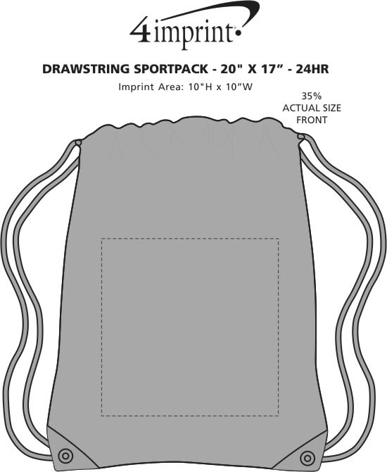 "Imprint Area of Drawstring Sportpack - 20"" x 17"" - 24 hr"