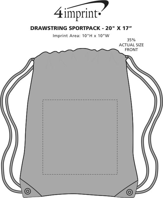 "Imprint Area of Drawstring Sportpack - 20"" x 17"""