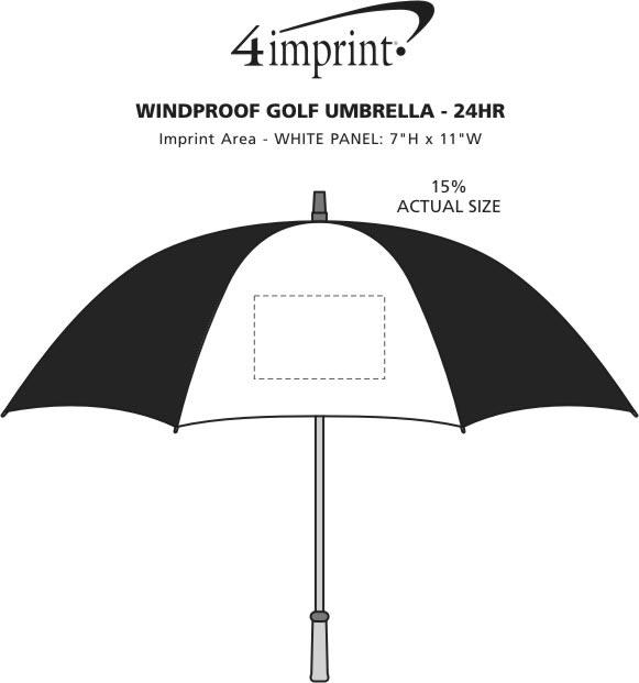 "Imprint Area of Windproof Golf Umbrella - 64"" Arc - 24 hr"