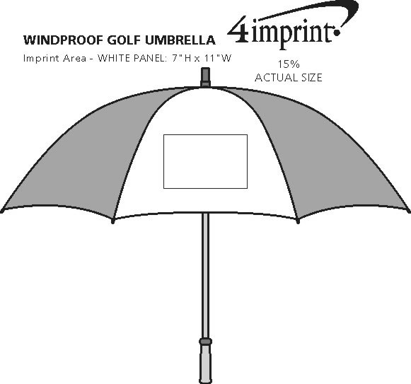"Imprint Area of Windproof Golf Umbrella - 64"" Arc"