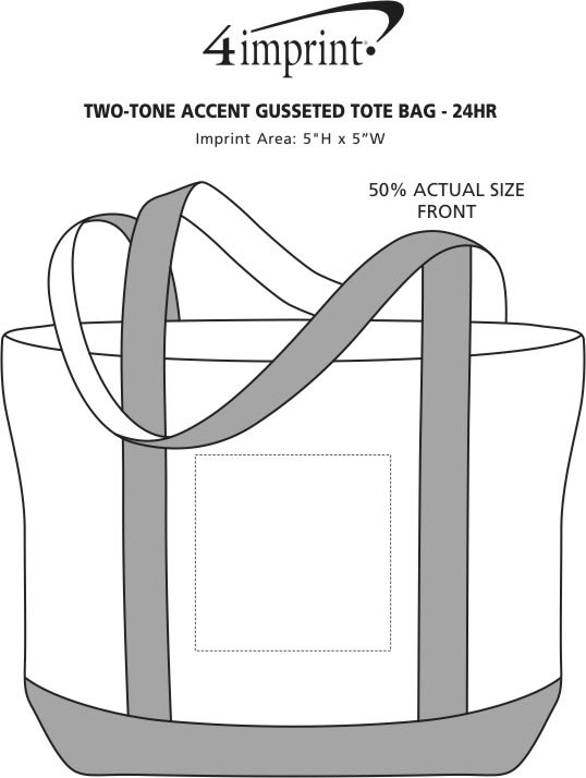 Imprint Area of Two-Tone Accent Gusseted Tote Bag - 24 hr