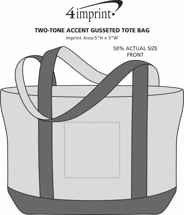 Imprint Area of Two-Tone Accent Gusseted Tote Bag
