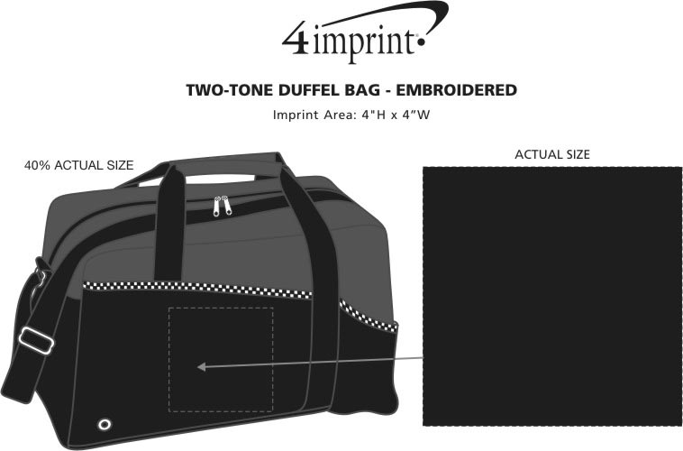Imprint Area of Two-Tone Duffel Bag - Embroidered