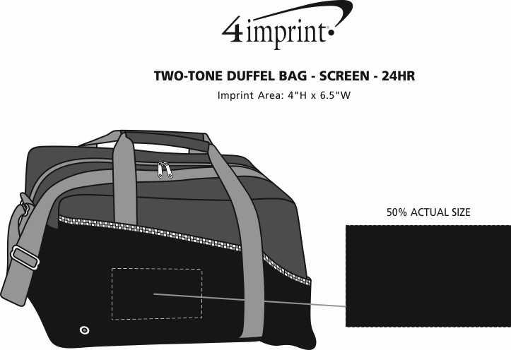 Imprint Area of Two-Tone Duffel Bag - Screen - 24 hr