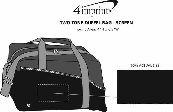 Imprint Area of Two-Tone Duffel Bag - Screen