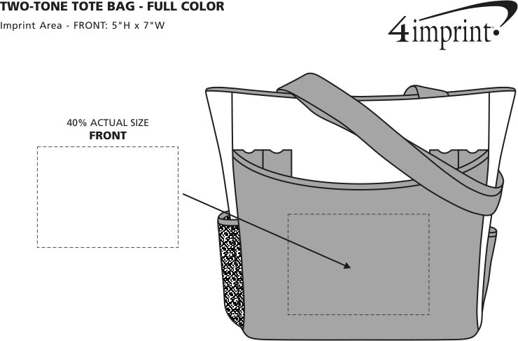 Imprint Area of Two-Tone Tote Bag - Full Color