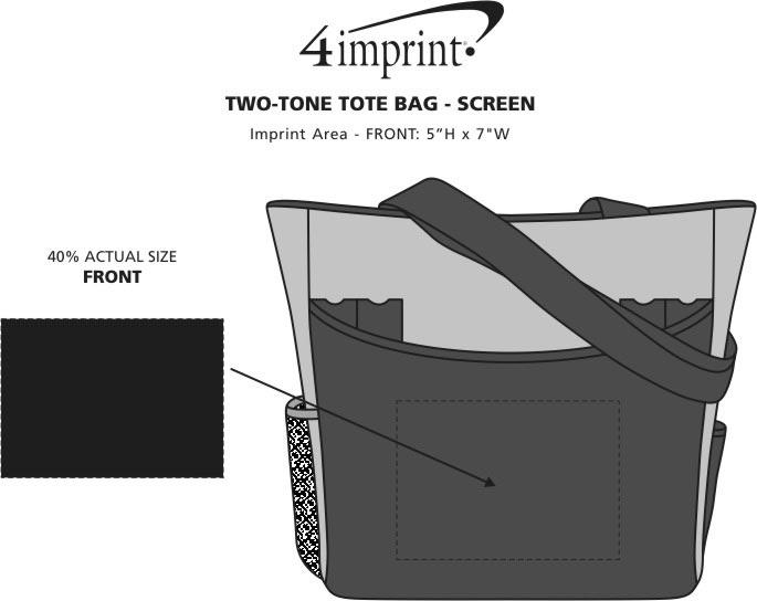 Imprint Area of Two-Tone Tote Bag - Screen