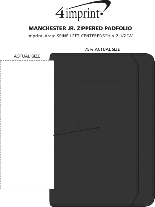 Imprint Area of Manchester Jr. Zippered Padfolio