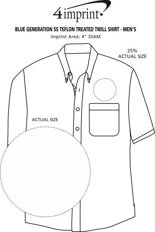 Imprint Area of Blue Generation SS Teflon Treated Twill Shirt - Men's
