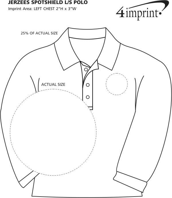 Imprint Area of Jerzees SpotShield LS Jersey Knit Shirt