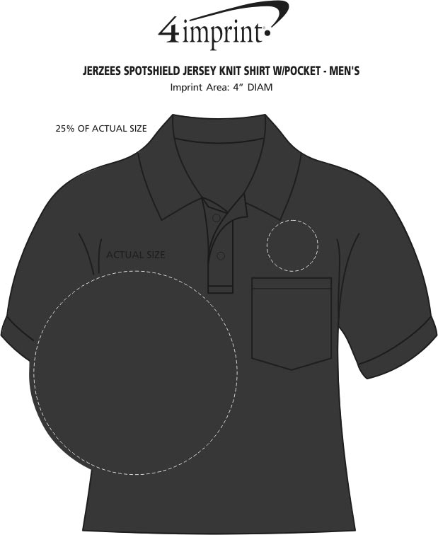 Imprint Area of Jerzees SpotShield Jersey Shirt with Pocket