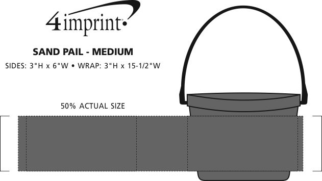 Imprint Area of Bucket with Handle - 64 oz.