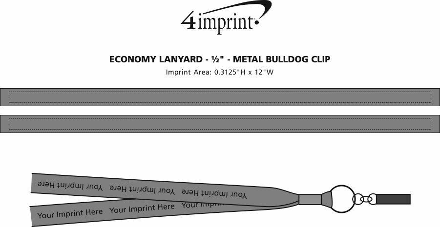 "Imprint Area of Economy Lanyard - 1/2"" - Metal Bulldog Clip"