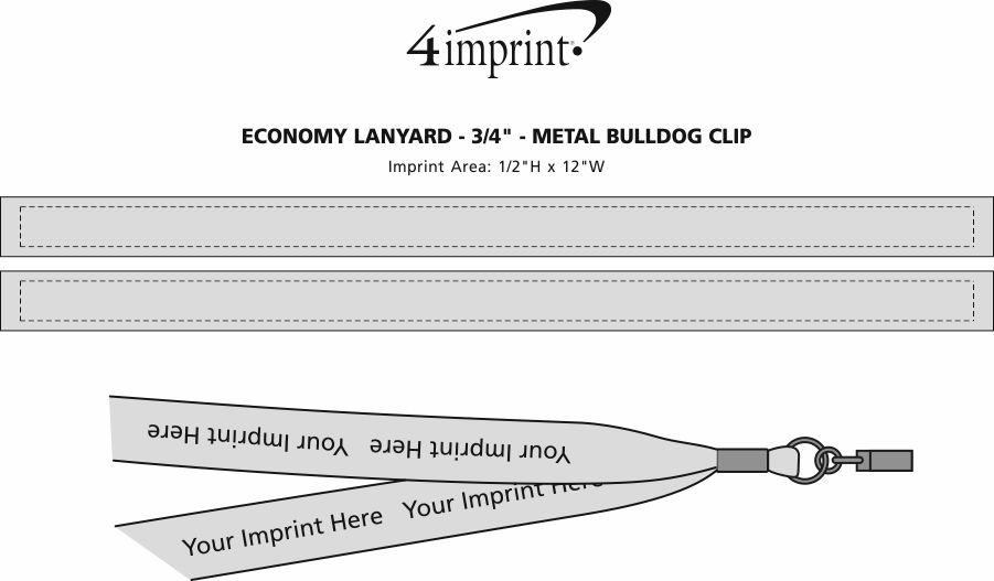 "Imprint Area of Economy Lanyard - 3/4"" - Metal Bulldog Clip"