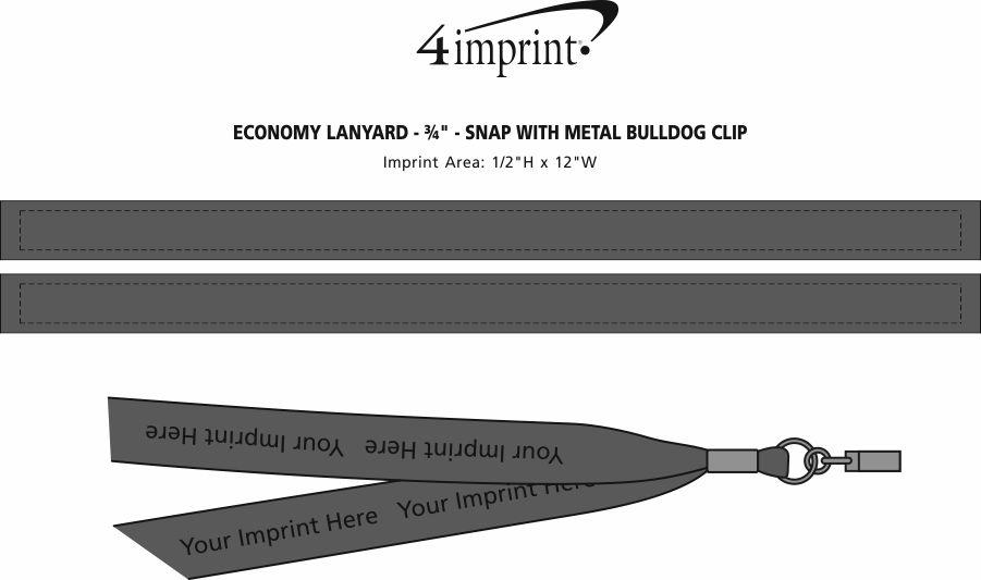"Imprint Area of Economy Lanyard - 3/4"" - Snap with Metal Bulldog Clip"