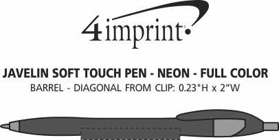 Imprint Area of Javelin Soft Touch Pen - Neon - Full Color