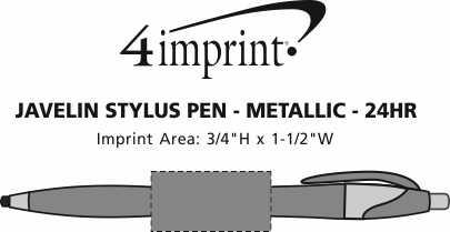Imprint Area of Javelin Stylus Pen - Metallic - 24 hr