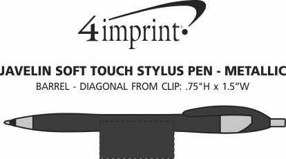 Imprint Area of Javelin Soft Touch Stylus Pen - Metallic