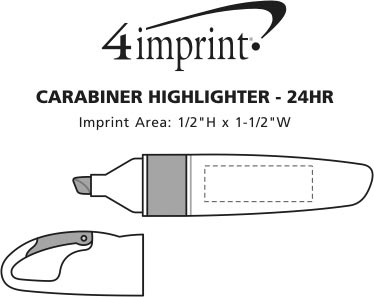 Imprint Area of Carabiner Highlighter - 24 hr