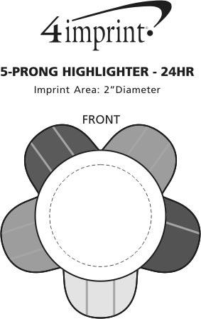 Imprint Area of 5-Prong Highlighter - 24 hr