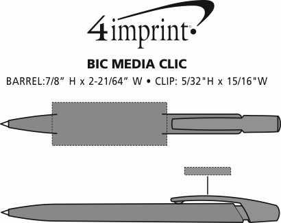 Imprint Area of Bic Media Clic Pen - Opaque