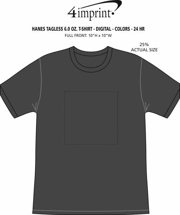 Imprint Area of Hanes Authentic T-Shirt - Full Color - Colors - 24 hr
