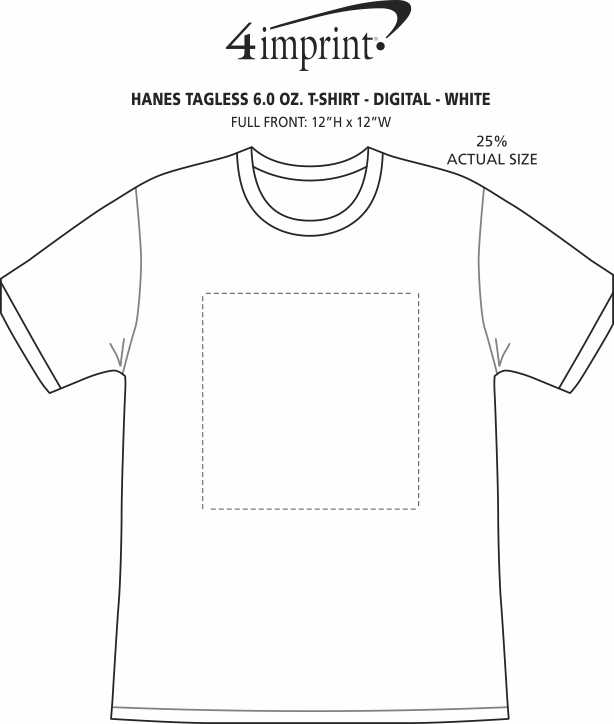 Imprint Area of Hanes Authentic T-Shirt - Full Color - White