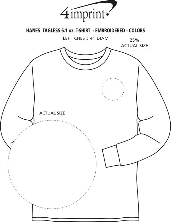 Imprint Area of Hanes Authentic LS T-Shirt - Embroidered - Colors