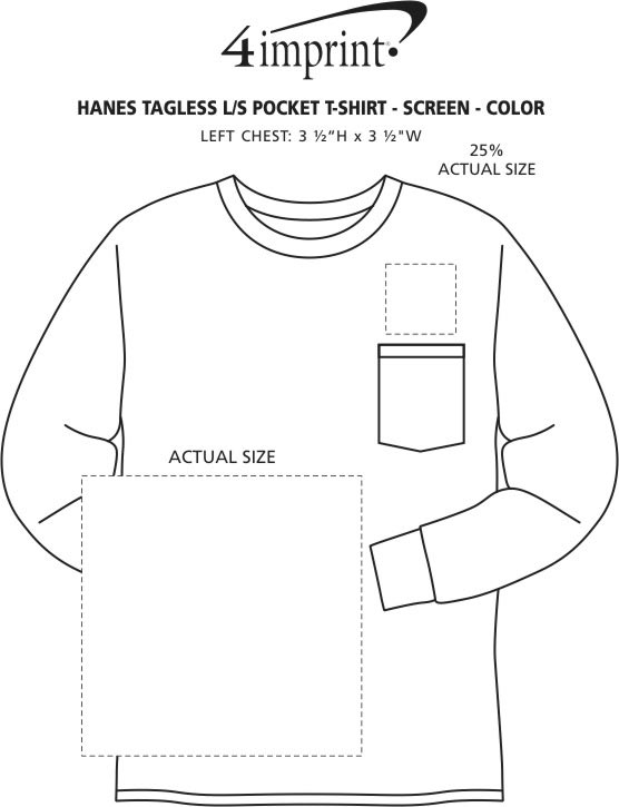 Imprint Area of Hanes Authentic LS Pocket T-Shirt - Screen - Colors
