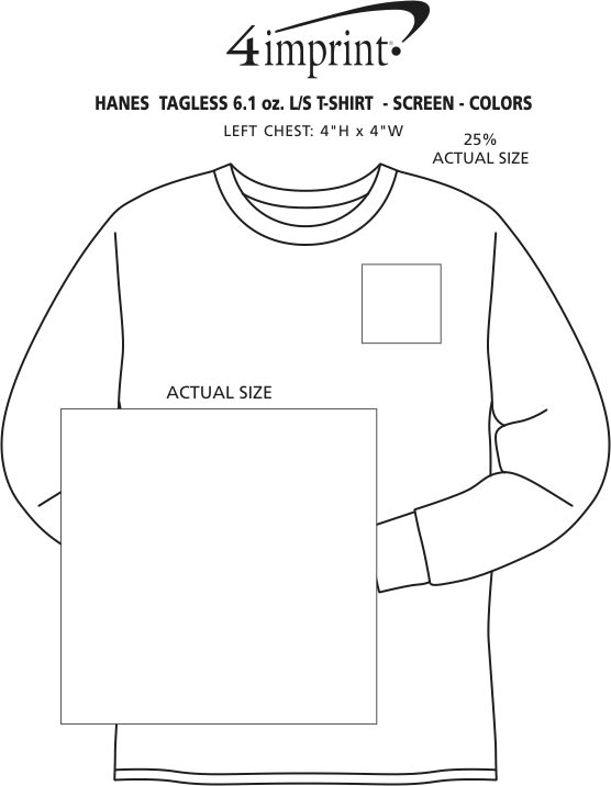 Imprint Area of Hanes Authentic LS T-Shirt - Screen - Colors
