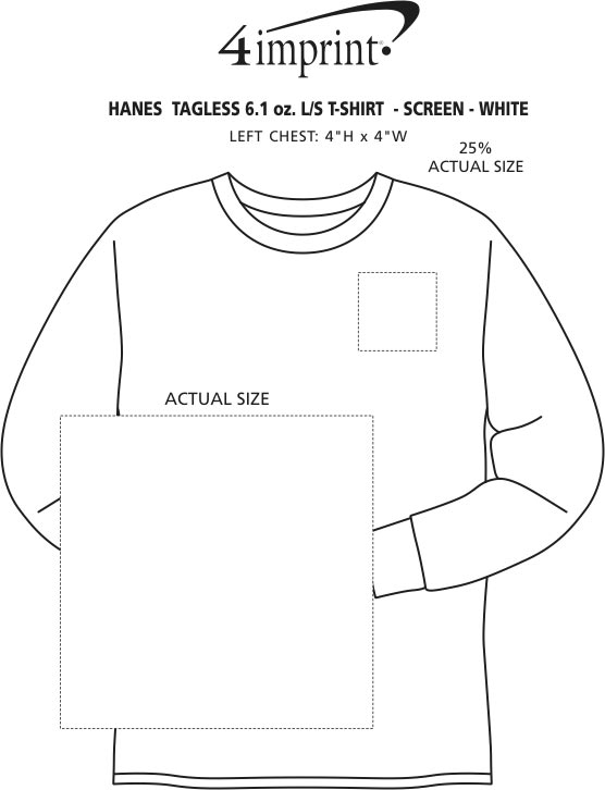 Imprint Area of Hanes Authentic LS T-Shirt - Screen - White