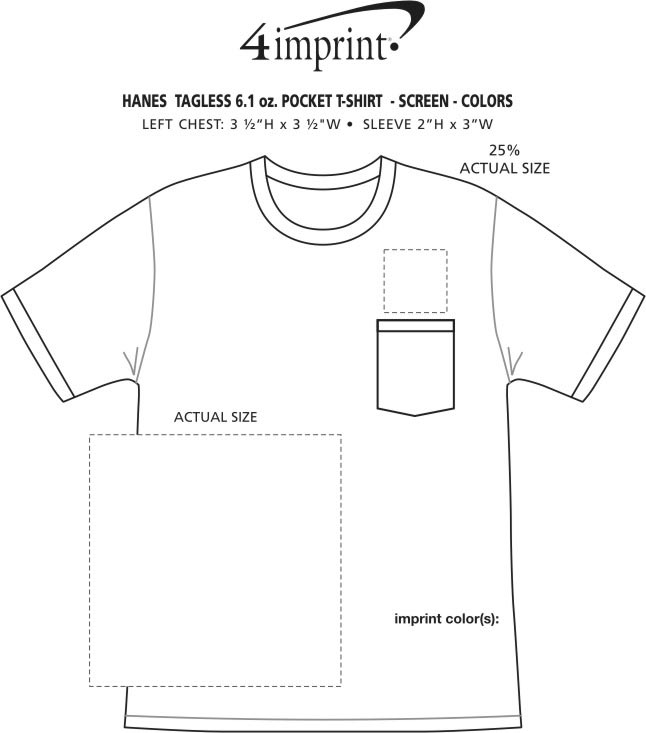 Imprint Area of Hanes Authentic Pocket T-Shirt - Screen - Colors