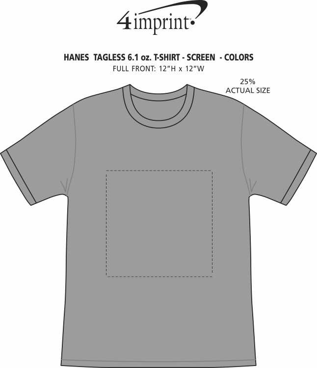 Imprint Area of Hanes Authentic T-Shirt - Screen - Colors