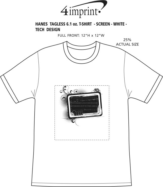 Imprint Area of Hanes Authentic T-Shirt - Screen - White - Tech Design