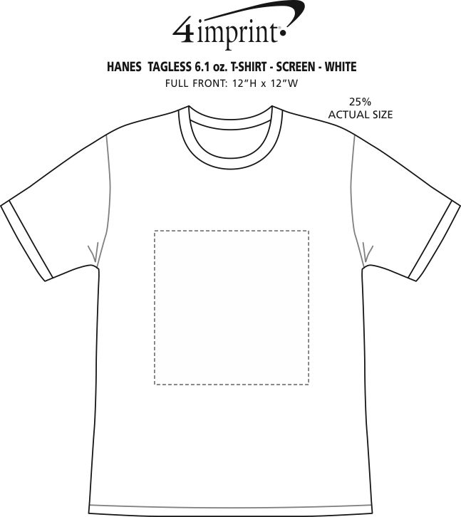Imprint Area of Hanes Authentic T-Shirt - Screen - White