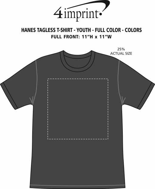 Imprint Area of Hanes Authentic T-Shirt - Youth - Full Color - Colors