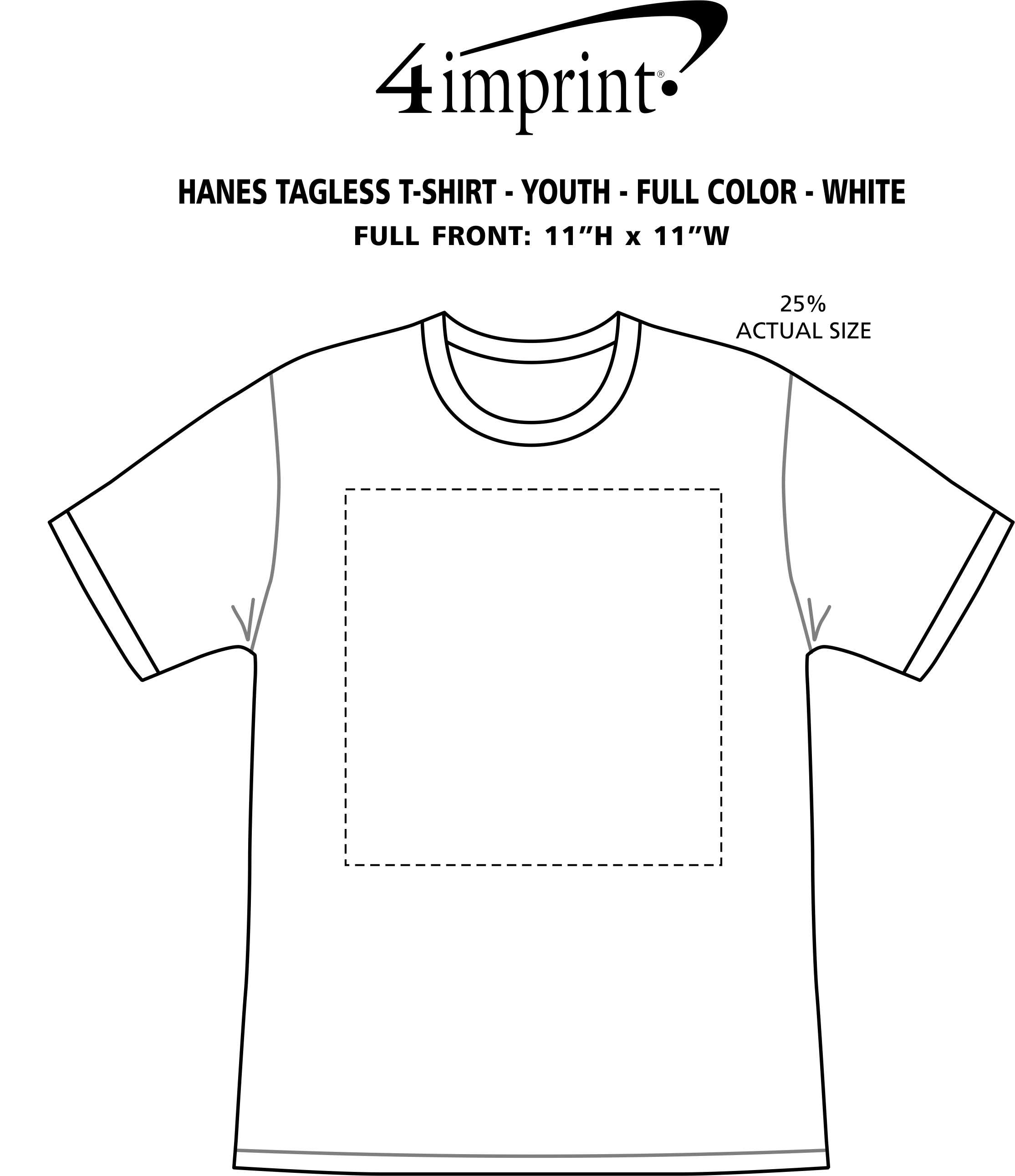 Imprint Area of Hanes Authentic T-Shirt - Youth - Full Color - White