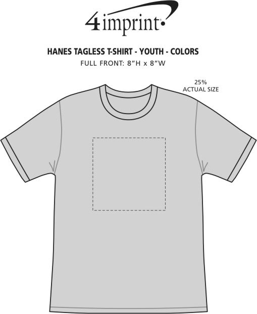 Imprint Area of Hanes Authentic T-Shirt - Youth - Screen - Colors