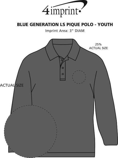 Imprint Area of Superblend Long Sleeve Pique Polo - Youth