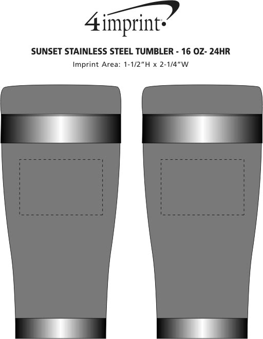 Imprint Area of Sunset Stainless Steel Tumbler - 16 oz. - 24 hr