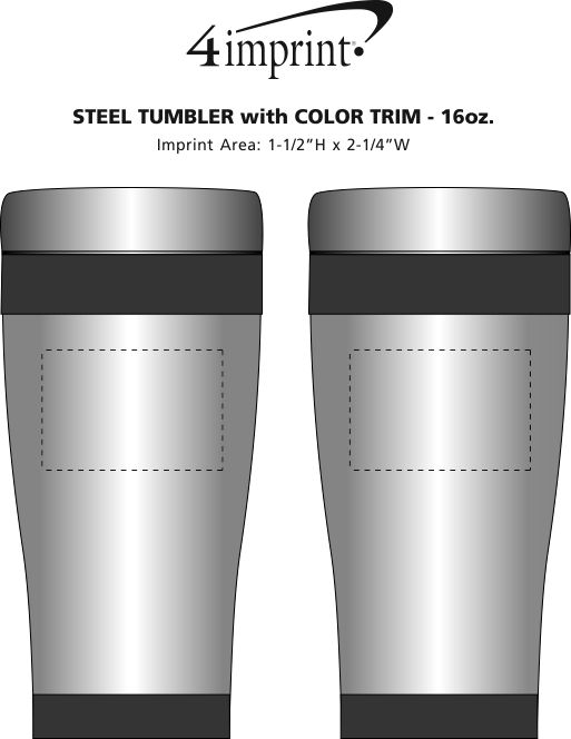 Imprint Area of Steel Tumbler with Color Trim - 16 oz.