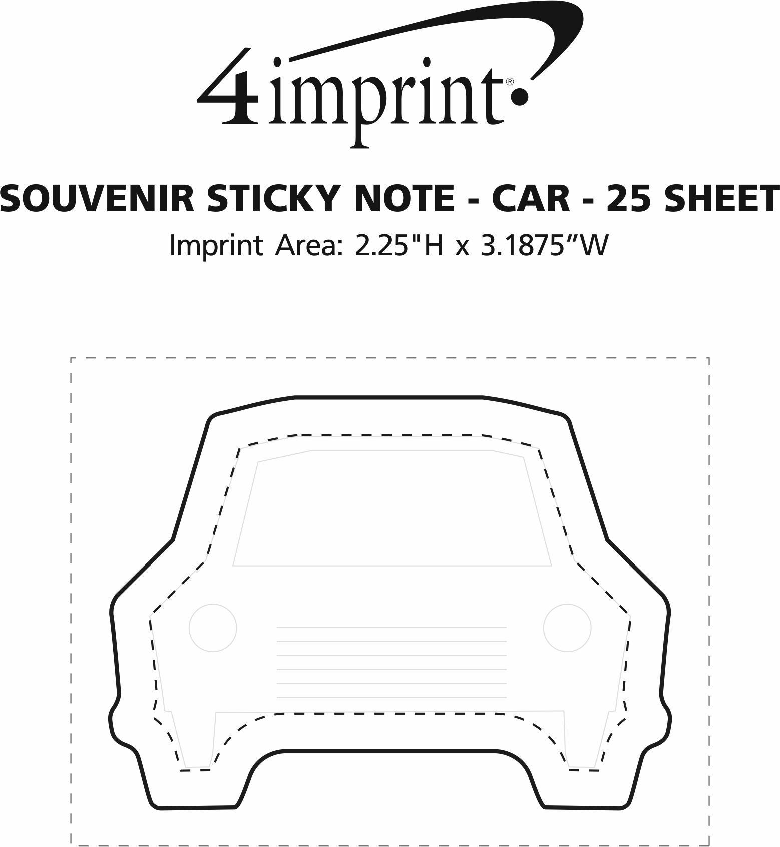 Imprint Area of Bic Sticky Note - Car - 25 Sheet