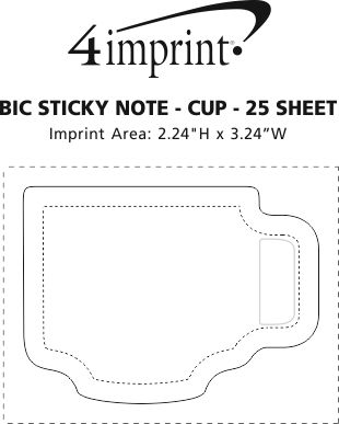 Imprint Area of Bic Sticky Note - Cup - 25 Sheet