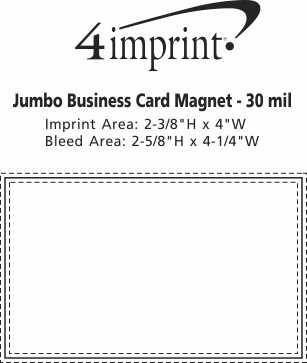 Imprint Area of Bic 30 mil Jumbo Business Card Magnet
