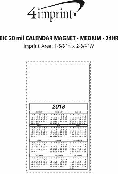 Imprint Area of Bic 20 mil Calendar Magnet - Medium - White - 24 hr