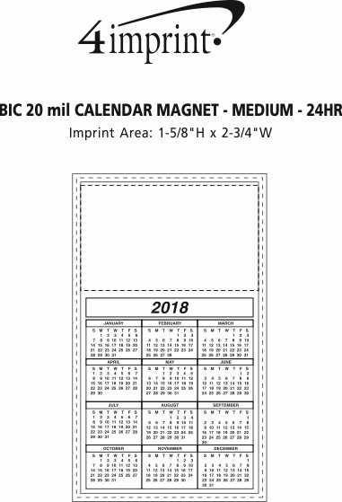 Imprint Area of Bic 20 mil Calendar Magnet - Medium - White - 24 hr
