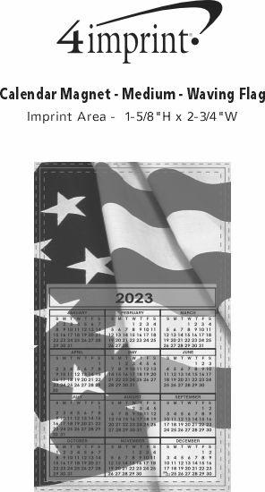 Imprint Area of Bic 20 mil Calendar Magnet - Medium - Waving Flag